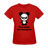 T-Shirts ~ Women's T-Shirt ~ Too Lazy For Kung Fu Red Girl