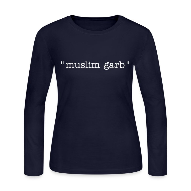 muslim garb -- long sleeve women's tee, white on navy - Women's Long Sleeve Jersey T-Shirt