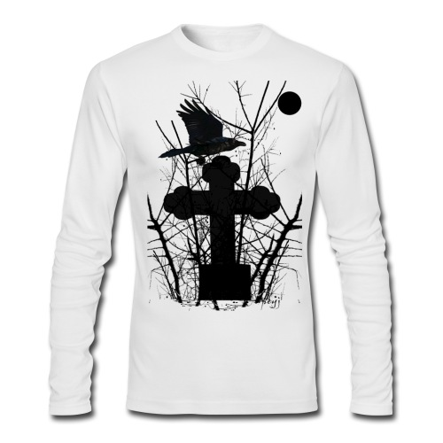 Crow On Tomb - Men's Long Sleeve T-Shirt by Next Level