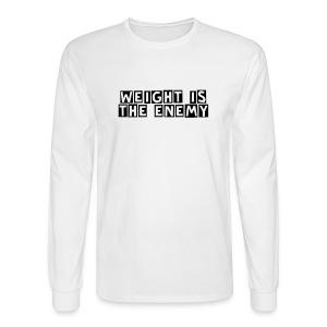 Weight is the Enemy/ Simplify: Heavyweight long sleeve t-shirt- White w/ Black - Men's Long Sleeve T-Shirt