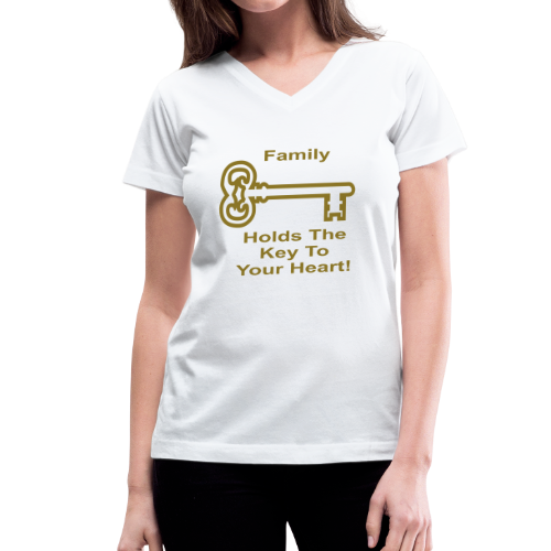 Family Holds The Key To Your Heart - Women's V-Neck T-Shirt
