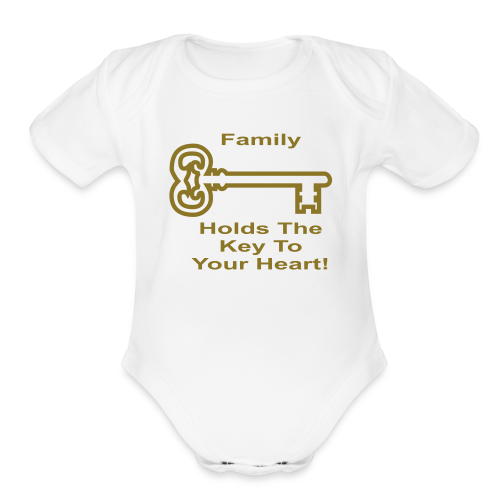 Family Holds The Key To Your Heart - Organic Short Sleeve Baby Bodysuit