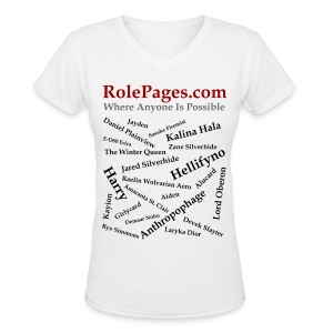 Women's V-Neck T-Shirt - Character Names 2 - Black Lettering - Women's V-Neck T-Shirt