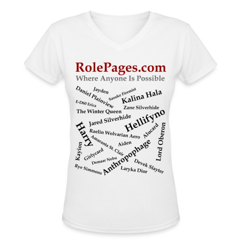 Women's V-Neck T-Shirt - Character Names 2 - Black Lettering - Women's V-Neck T-Shirt