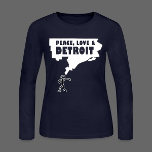 Peace, Love and Detroit Women's Long Sleeve Jersey Tee - Women's Long Sleeve Jersey T-Shirt