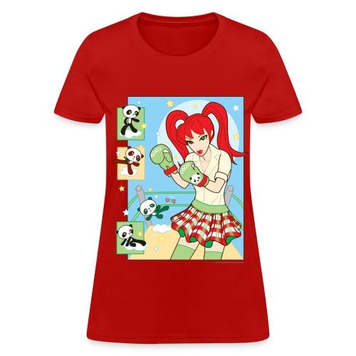 Red Banza Chicks Cartoon School Girl Ladies T-shirt - Women's T-Shirt