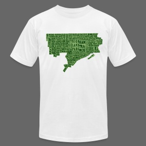 Green Detroit Neighborhoods Map Men's American Apparel Tee - Men's T-Shirt by American Apparel