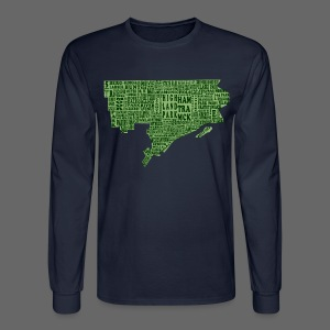 Green Detroit Neighborhoods Map Men's Long Sleeve Tee - Men's Long Sleeve T-Shirt