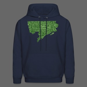 Green Detroit Neighborhoods Map Men's Hooded Sweatshirt - Men's Hoodie