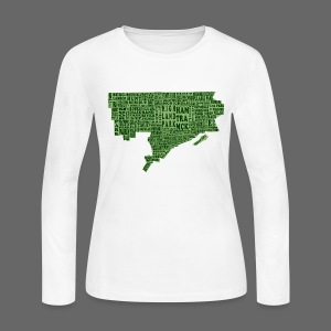 Green Detroit Neighborhoods Map Women's Long Sleeve Jersey Tee - Women's Long Sleeve Jersey T-Shirt