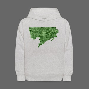Green Detroit Neighborhoods Map Kids Hooded Sweathisrt - Kids' Hoodie