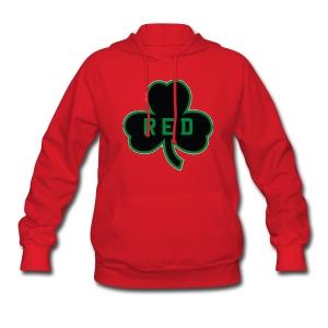 Red Shamrock Women's Hooded Sweatshirt - Women's Hoodie
