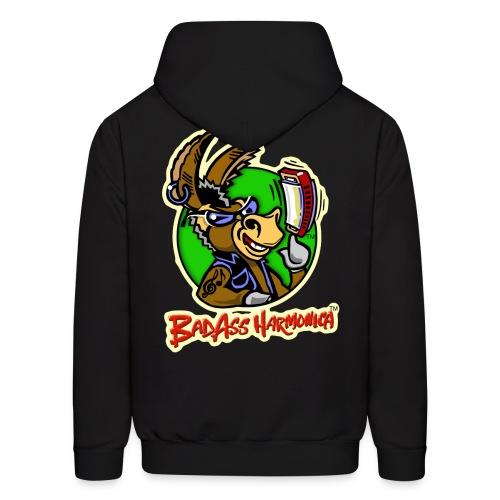 BadAss Harmonica hoodie w/back logo (black) - Men's Hoodie