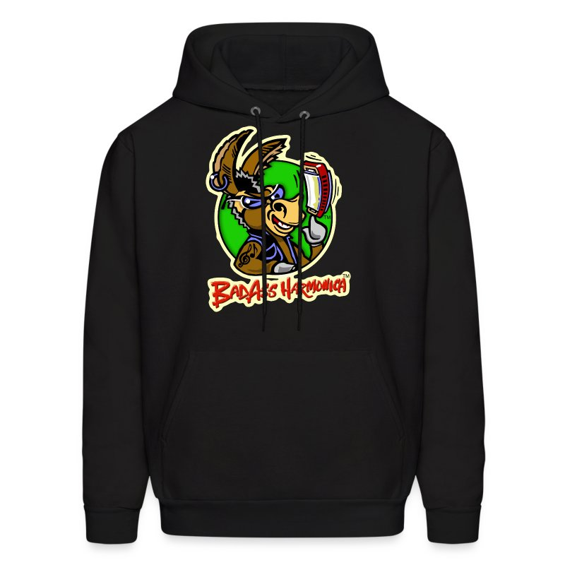 BadAss Harmonica hoodie w/front logo (black) - Men's Hoodie