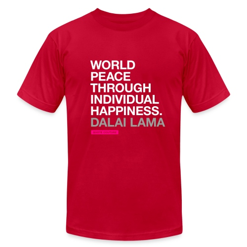 World peace through individual happiness. --Dalai Lama men's shirt in eggplant - Men's  Jersey T-Shirt