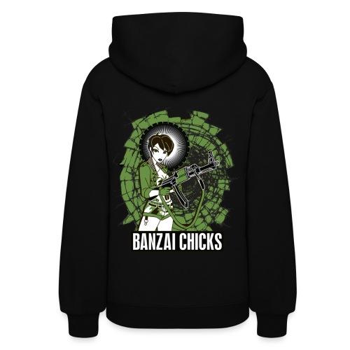 Black Women's Banzai Chicks Army Girl Hoodie - Women's Hoodie