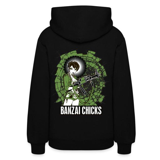 Black Women's Banzai Chicks Army Girl Hoodie