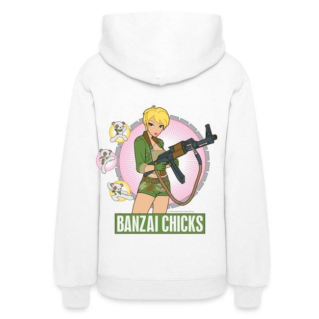 Banzai Chicks Cute Cartoon Army Girl Ladies Hoodie