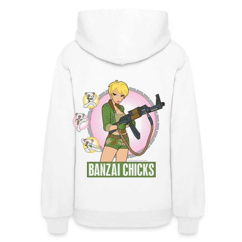 Banzai Chicks Cute Cartoon Army Girl Ladies Hoodie - Women's Hoodie