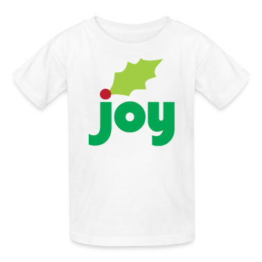 Joy with Holly Leaf and Berry Children's T-Shirt