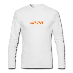 S220 / Simplify: American Apparel long-sleeve t-shirt- White w/ Orange - Men's Long Sleeve T-Shirt by Next Level