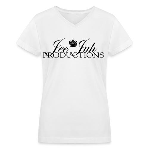Jee Juh Productions - Black (pixel design) - Women's V-Neck T-Shirt