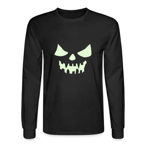 Glow Pumpkin Face Shirt - Men's Long Sleeve T-Shirt