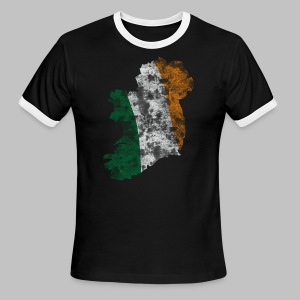 Distressed Irish Flag on Map Men's American Apparel Lightweight Ringer Tee - Men's Ringer T-Shirt