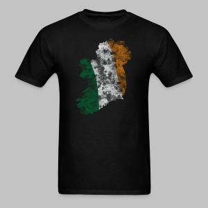 Distressed Irish Flag on Map Men's Standard Weight T-Shirt - Men's T-Shirt