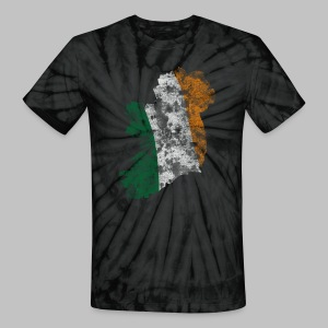 Distressed Irish Flag on Map Unisex Tie Dye T-Shirt - Unisex Tie Dye T-Shirt