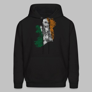 Distressed Irish Flag on Map Men's Hooded Sweatshirt - Men's Hoodie
