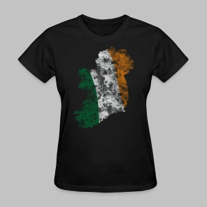 Distressed Irish Flag on Map Women's Standard Weight T-Shirt - Women's T-Shirt