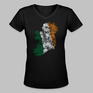 Distressed Irish Flag on Map Women's V-Neck T-Shirt - Women's V-Neck T-Shirt