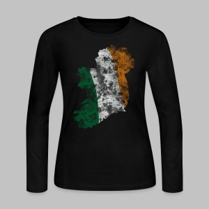 Distressed Irish Flag on Map Women's Long Sleeve Jersey Tee - Women's Long Sleeve Jersey T-Shirt
