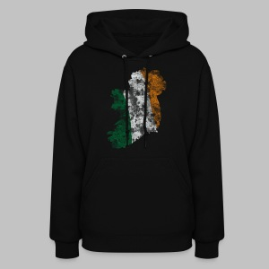 Distressed Irish Flag on Map Women's Hooded Sweatshirt - Women's Hoodie