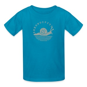 snail children's grey logo on pink - Kids' T-Shirt