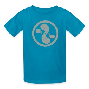 pedal power children's grey logo on pink - Kids' T-Shirt