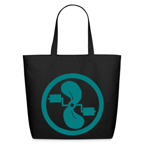 pedal power tote teal logo on black - Eco-Friendly Cotton Tote