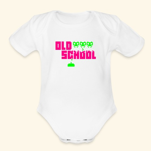 Old School (neon) - Organic Short Sleeve Baby Bodysuit