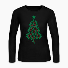 Holly Christmas Tree Long Sleeve Shirts