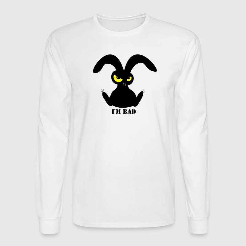 i´m bad rabbit bunny bunnies hare jackass eye evil gaze look Long Sleeve Shirts - Men's Long Sleeve T-Shirt