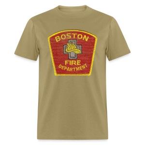 Boston Fire Department Patch Style Men's Standard Weight T-Shirt - Men's T-Shirt