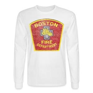 Boston Fire Department Patch Style Men's Long Sleeve Tee - Men's Long Sleeve T-Shirt