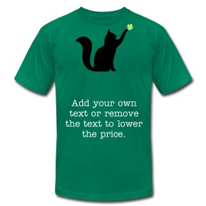 Cat and 4 Leaf Clover - Men's T-Shirt by American Apparel
