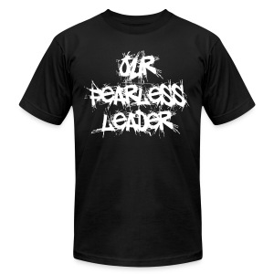 Our Fearless Leader Men's White Scratch Lettering Tee - Men's T-Shirt by American Apparel