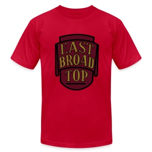 East Broad Top Railroad - Metallic Gold Print/Maroon/Black on Brown T-Shirt (Men's) - Men's Fine Jersey T-Shirt