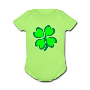 Four Leaf Clover - Short Sleeve Baby Bodysuit