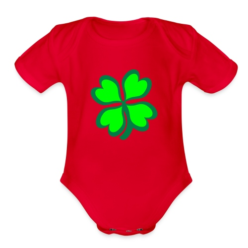 Four Leaf Clover - Organic Short Sleeve Baby Bodysuit