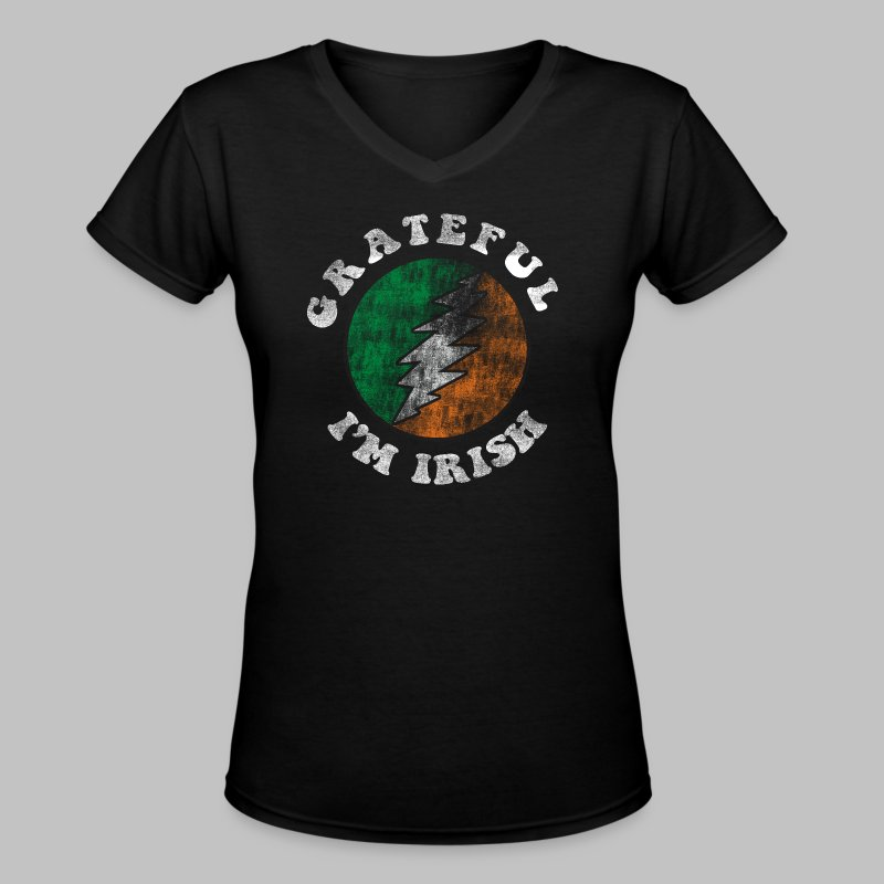 Grateful Irish Women's V-Neck T-Shirt - Women's V-Neck T-Shirt
