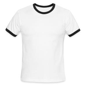 Trickster's Men's Lightweight Ringer T white print - Men's Ringer T-Shirt